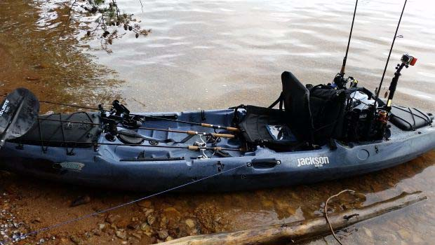 Kayak With fishing gear on water