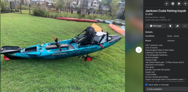 Jackson Fishing kayak for sale on Facebook