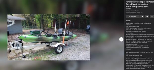 Native Fishing Kayak for sale on Facebook