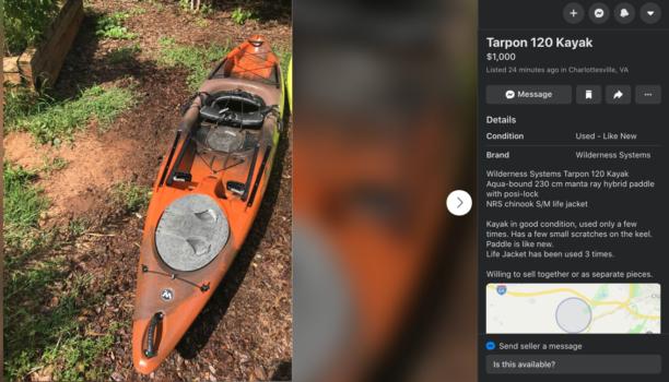 Tarpon Fishing Kayak for sale on Facebook